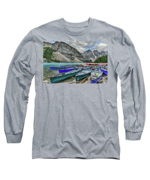 Canoes On Moraine Lake  Long Sleeve T-Shirt