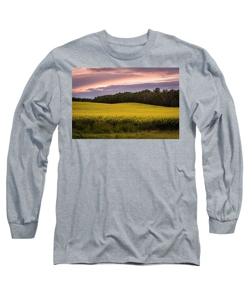 Long Sleeve T-Shirt featuring the photograph Canola Crop Sunset by Darcy Michaelchuk
