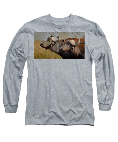 Cape Buffalo And Their Housekeeper Long Sleeve T-Shirt