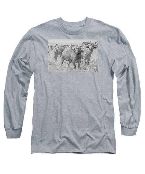 Long Sleeve T-Shirt featuring the photograph Cape Buffalos In Serengeti by Pravine Chester