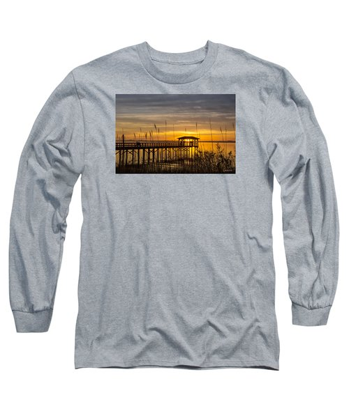 Cape Fear Sunset Fort Fisher Long Sleeve T-Shirt by Phil Mancuso