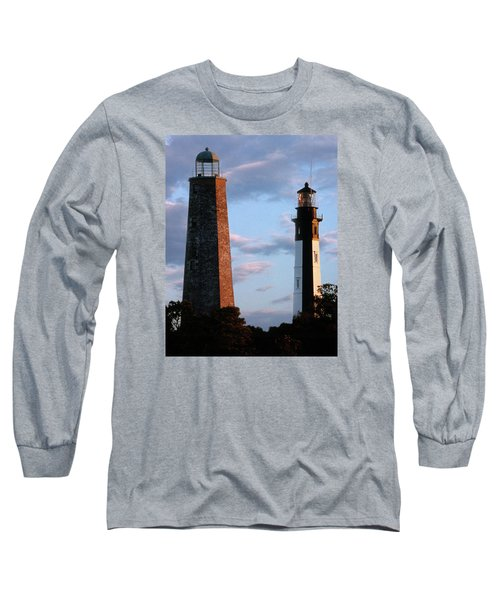 Cape Henry Lighthouses In Virginia Long Sleeve T-Shirt by Skip Willits