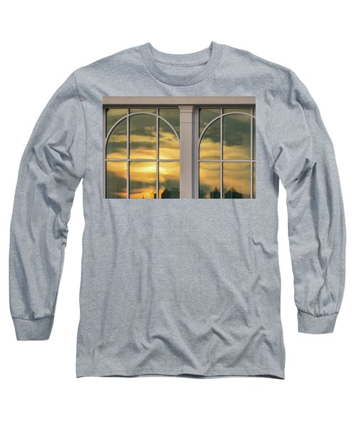 Cape May Abstract Sunset Reflection Long Sleeve T-Shirt by Gary Slawsky