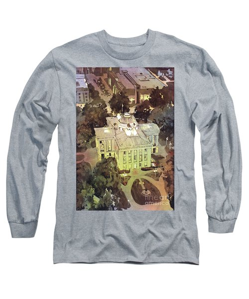 Long Sleeve T-Shirt featuring the painting Capitol Of Stupid- Raleigh, Nc by Ryan Fox
