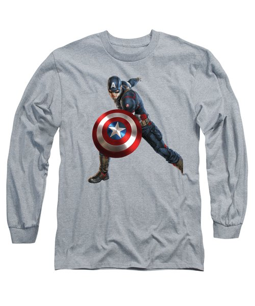 Long Sleeve T-Shirt featuring the mixed media Captain America Splash Super Hero Series by Movie Poster Prints