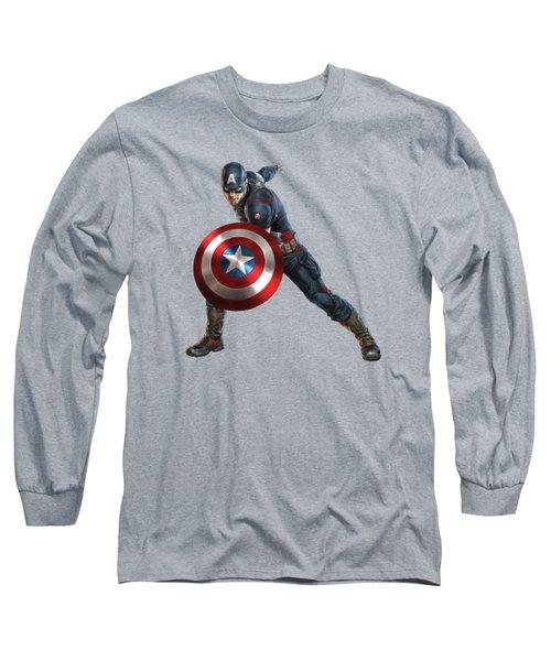 Captain America Splash Super Hero Series Long Sleeve T-Shirt