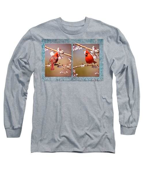 Long Sleeve T-Shirt featuring the photograph Cardinal Collage by Angel Cher