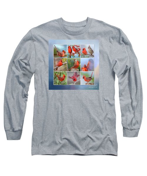 Cardinal Collage Long Sleeve T-Shirt by Bonnie Barry