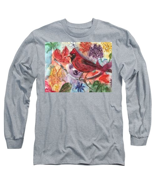 Cardinal In Flowers Long Sleeve T-Shirt