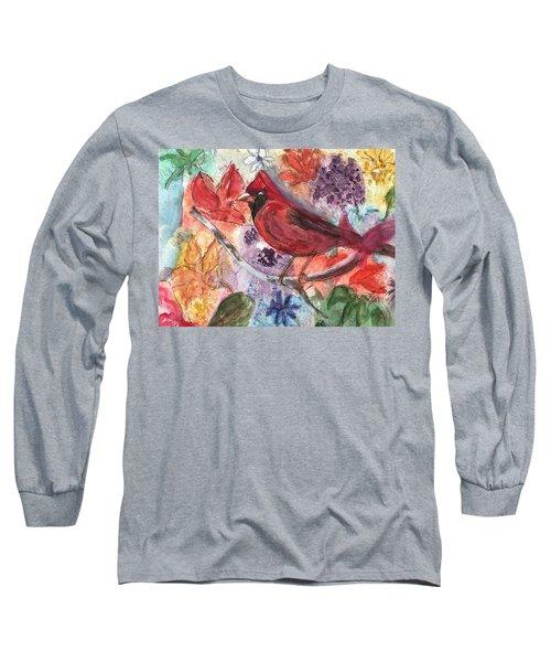 Cardinal In Flowers Long Sleeve T-Shirt