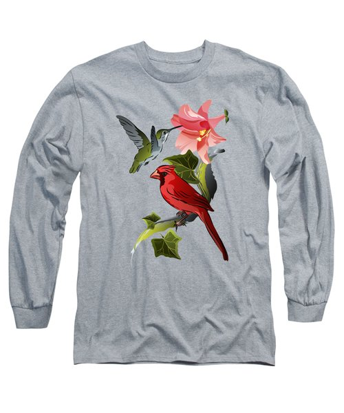 Cardinal On Ivy Branch With Hummingbird And Pink Lily Long Sleeve T-Shirt by MM Anderson