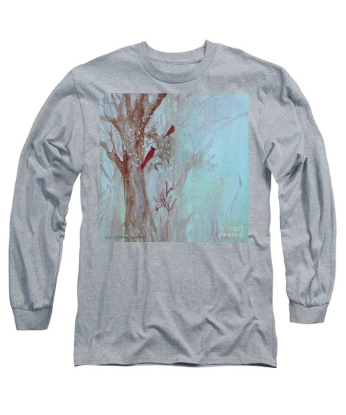 Long Sleeve T-Shirt featuring the painting Cardinals In Trees Whilst Snowing by Robin Maria Pedrero