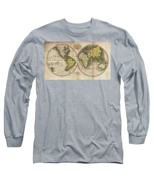 Long Sleeve T-Shirt featuring the photograph Carey's Map Of The World  1795 by Daniel Hagerman
