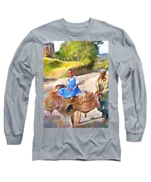 Caribbean Scenes - School In De Country Long Sleeve T-Shirt by Wayne Pascall