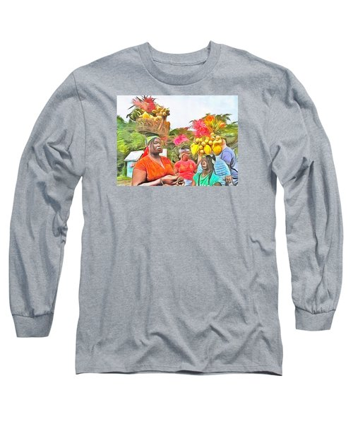 Long Sleeve T-Shirt featuring the painting Caribbean Scenes - Headstrong Women by Wayne Pascall