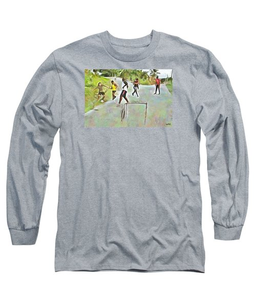 Long Sleeve T-Shirt featuring the painting Caribbean Scenes - Small Goal In De Street by Wayne Pascall