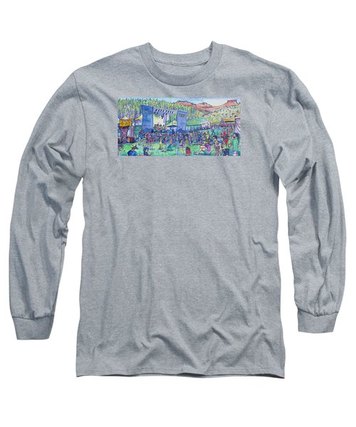 Long Sleeve T-Shirt featuring the painting Caribou Mountain Collective At Yarmonygrass by David Sockrider