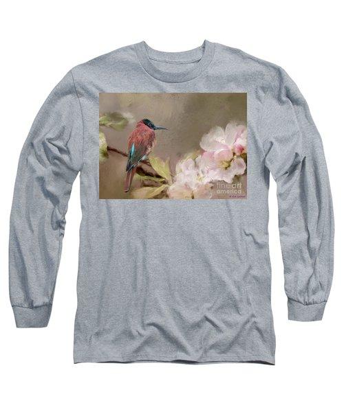 Carmine Bee-eater Long Sleeve T-Shirt by Eva Lechner