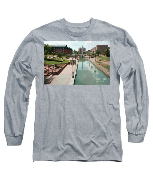 Carroll Creek Park In Frederick Maryland With Watercolor Effect Long Sleeve T-Shirt
