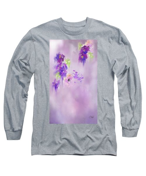 Cascading Orchids Long Sleeve T-Shirt by Colleen Taylor
