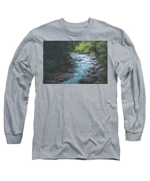Long Sleeve T-Shirt featuring the painting Cascading Stream by Kim Lockman