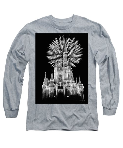 Castle With Fireworks In Black And White Walt Disney World Mp Long Sleeve T-Shirt by Thomas Woolworth