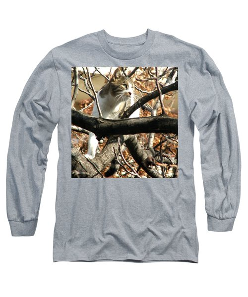 Cat Hunting Bird Long Sleeve T-Shirt