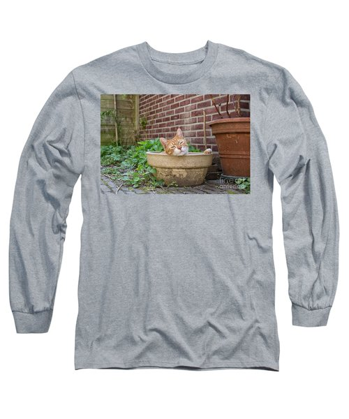 Long Sleeve T-Shirt featuring the photograph Cat In Empty Pot by Patricia Hofmeester