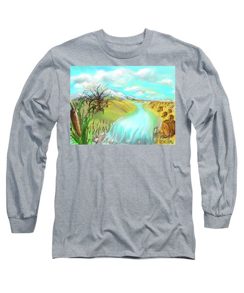 Catails Before The Fisherman Long Sleeve T-Shirt