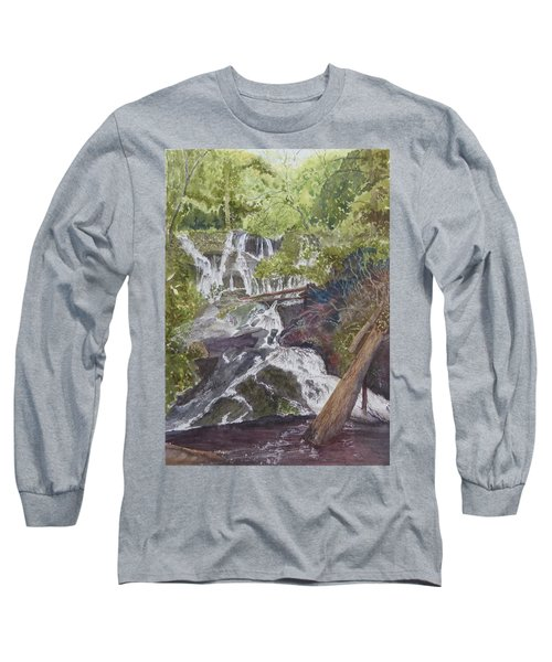 Long Sleeve T-Shirt featuring the painting Catawba Falls - Working Notes by Joel Deutsch