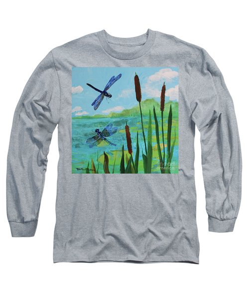 Cattails And Dragonflies Long Sleeve T-Shirt