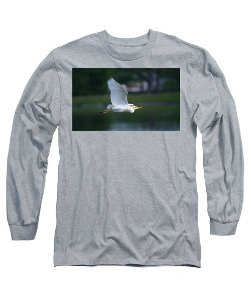 Cattle Egret Profile Portrait In Flight Long Sleeve T-Shirt