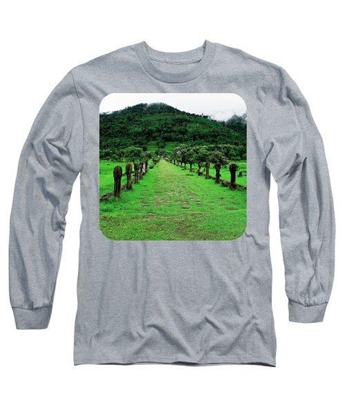Causeway To Wat Phou Long Sleeve T-Shirt by Ethna Gillespie