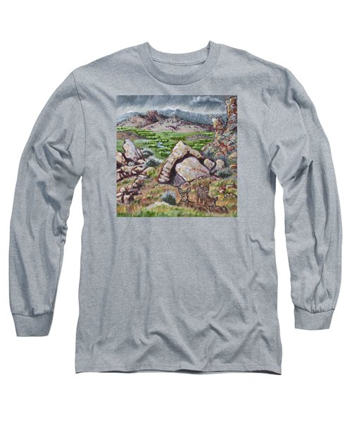 Long Sleeve T-Shirt featuring the painting Cedar Breaks View With Mule Deer by Dawn Senior-Trask