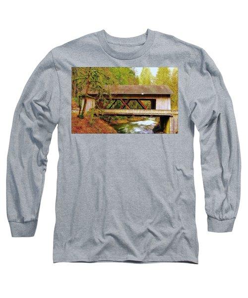 Cedar Creek Grist Mill Covered Bridge Long Sleeve T-Shirt