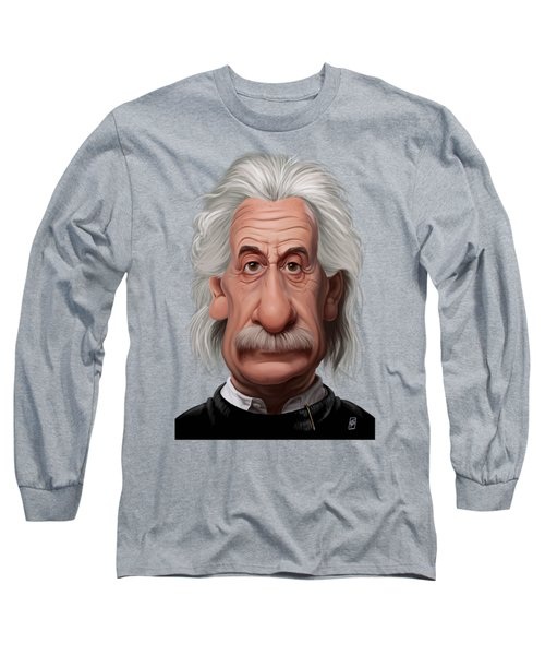 Long Sleeve T-Shirt featuring the drawing Celebrity Sunday - Albert Einstein by Rob Snow