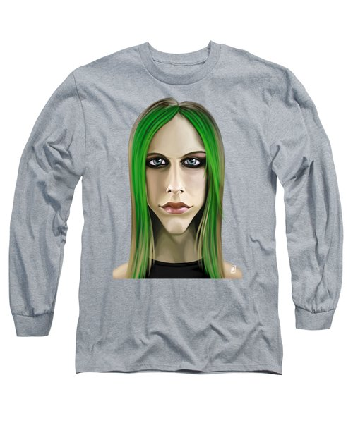 Long Sleeve T-Shirt featuring the drawing Celebrity Sunday - Avril Lavigne by Rob Snow