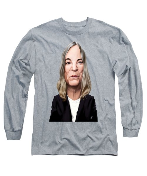 Long Sleeve T-Shirt featuring the drawing Celebrity Sunday - Patti Smith by Rob Snow