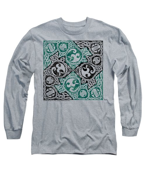 Celtic Puzzle Square Long Sleeve T-Shirt by Kristen Fox