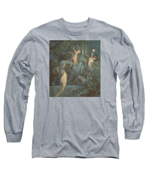 Centaur Nymphs And Cupid Long Sleeve T-Shirt by Franz von Bayros