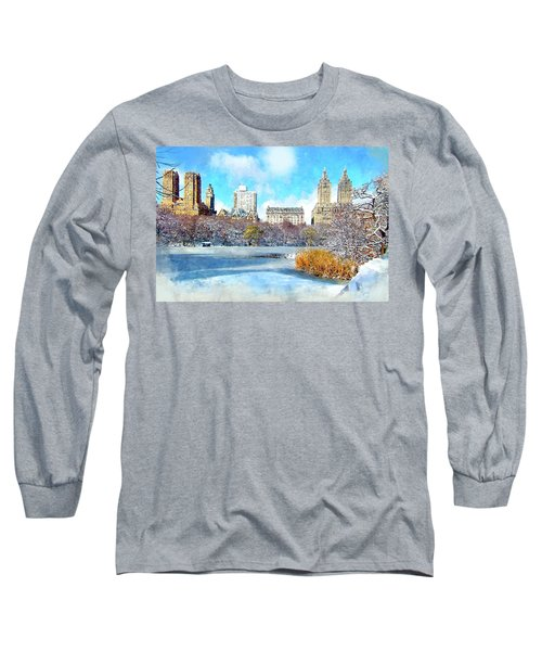 Long Sleeve T-Shirt featuring the digital art Central Park In Winter by Kai Saarto