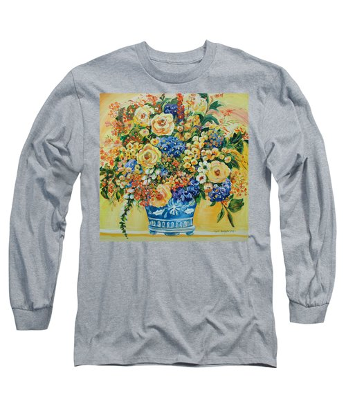Ceramic Blue Long Sleeve T-Shirt by Alexandra Maria Ethlyn Cheshire