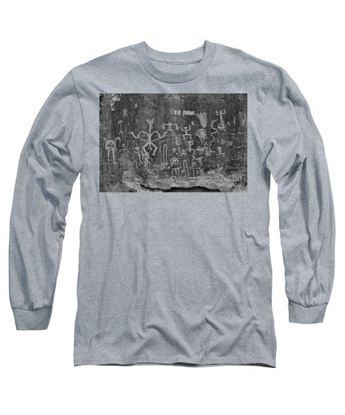 Long Sleeve T-Shirt featuring the photograph Chaco Canyon Petroglyphs Black And White by Adam Jewell