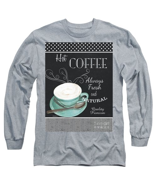 Long Sleeve T-Shirt featuring the painting Chalkboard Retro Coffee Shop 1 by Debbie DeWitt