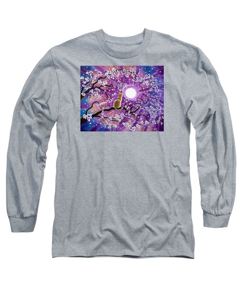Champagne Tabby Cat In Cherry Blossoms Long Sleeve T-Shirt by Laura Iverson