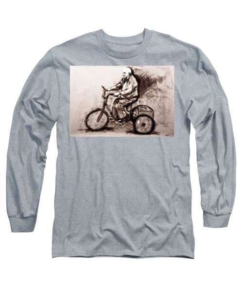 Charcoal Drawing Of Pedal To The Metal By Ayasha Loya Long Sleeve T-Shirt