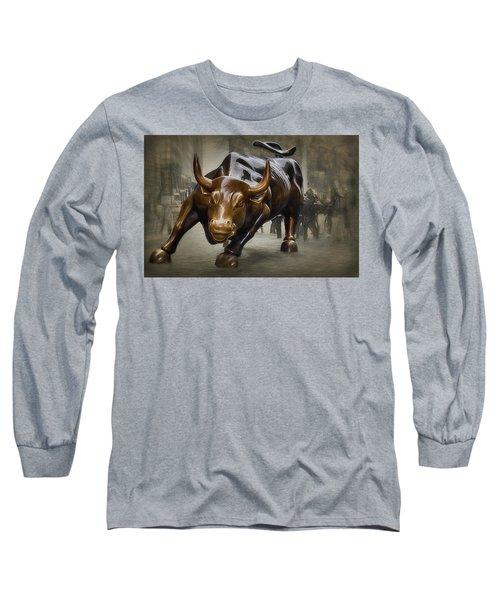 Charging Bull Long Sleeve T-Shirt by Dyle Warren
