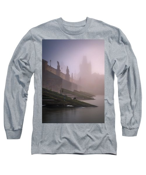 Charles Bridge At Autumn Foggy Day, Prague, Czech Republic Long Sleeve T-Shirt