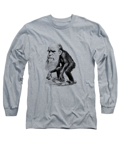 Charles Darwin As An Ape Cartoon Long Sleeve T-Shirt