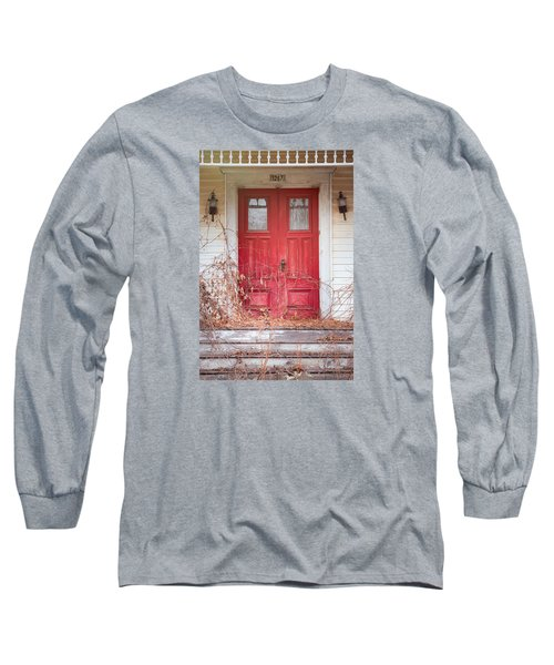 Long Sleeve T-Shirt featuring the photograph Charming Old Red Doors Portrait by Gary Heller